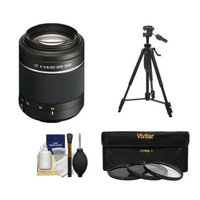 Sony Alpha DT 55-200mm f/4-5.6 SAM Zoom Lens with Tripod + 3 UV/ND8/CPL Filter Set + Cleaning Kit for A57, A58, A65, A77 DSLR Cameras