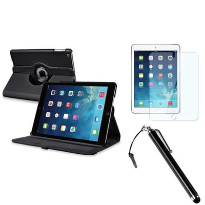 Insten INSTEN Black 360 Rotating Leather Case Cover+LCD Protector+Pen For Apple iPad Air 5 5th Gen