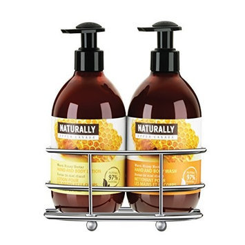 Upper Canada Soap   Candle Upper Canada Soap & Candle Naturally Caddy Gift Set with Hand and Body Wash and Lotion, Warm Honey Nectar