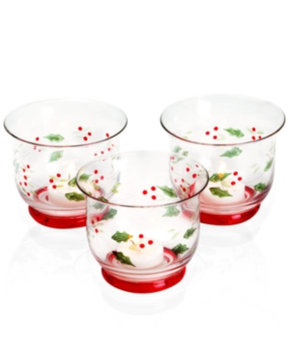 Pfaltzgraff Set of 3 Winterberry Votives with Candles