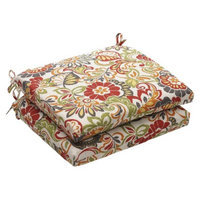 Pillow Perfect Outdoor 2-Piece Chair Cushion Set - Green/Off-White/Red Floral
