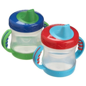 NUK Gerber Graduates BPA Free 2 Pack Fun Grips Soft Starter Spill Proof Cup 2 Handle, 6 Ounce, Vertical, Colors May Vary