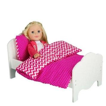 Teamson Kids Little Princess Doll Furniture 18-in. Modern Chevron Bedding