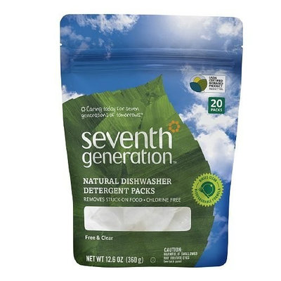 Seventh Generation Dishwashing Products Auto Dish Pacs, Free & Clear 15 count Automatic Dishwashing Dish Pacs & Rinse Aids (Pack of 3)