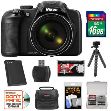 Nikon Coolpix P600 Wi-Fi Digital Camera (Black) - Factory Refurbished with 16GB Card + Battery + Case + Flex Tripod + Kit