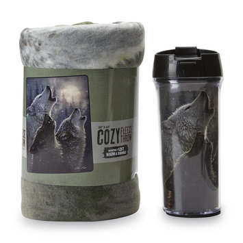 The Northwest Company Travel Mug & Fleece Throw - Wolf