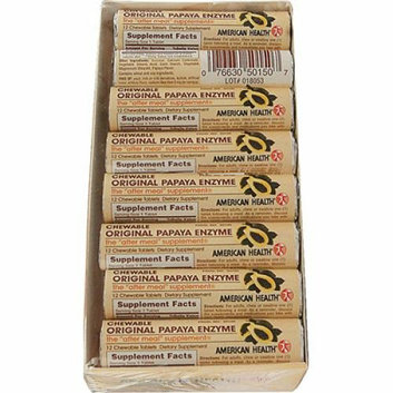 American Health Original Papaya Enzyme Chewable 12 Chewable Tablets Each / Pack of 16 Case of 16