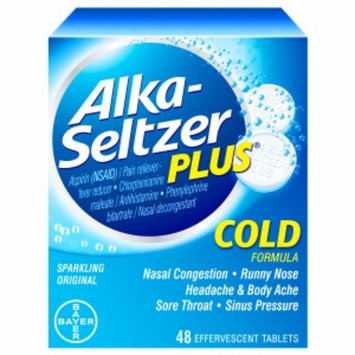 Alka-Seltzer Plus Cold Formula Effervescent Tablets, Original, 48 ea