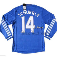 Thailand Soccer Shirts Chelsea 2013/14 Home Premier League Long Sleeve Soccer Jersey , Any Name + Patch Premier League
