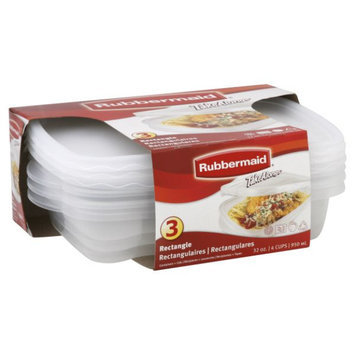 Rubbermaid Rectangle Containers + Lids, 32 oz, 3 containers