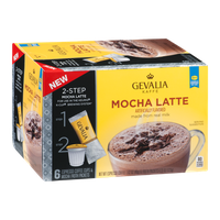 Gevalia Kaffe 2-Step Espresso Coffee Cups & Froth Packets Mocha Latte - 6 PK