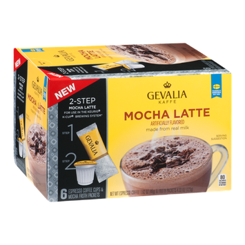 Gevalia Kaffe 2-Step Espresso Coffee Cups & Froth Packets Mocha Latte - 6 PK