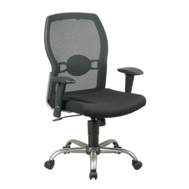 Office Chair: Office Star Screen Back Mesh Seat Chair - Black