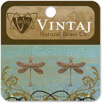 Vintaj 153590 Vintaj Metal Accents 2-Pkg-Dragonfly 17x17mm