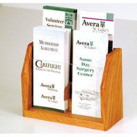 Wooden Mallet 4-Pocket Countertop Brochure Display, Medium Oak