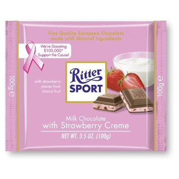 Ritter Sport Bars, Milk Chocolate with Strawberry Creme, 3.5 Ounce (Pack of 12)