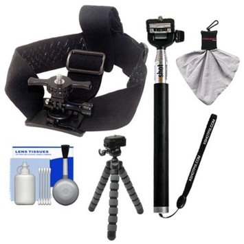 Intova Ski/ Snowboard Essentials Bundle for ContourROAM, ContourROAM 2 & Contour+ 2 Action Camcorders with Helmet Mount + XShot Handheld Monopod + Flex Tripod + Accessory Kit