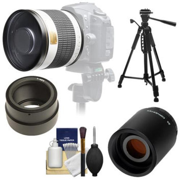 Samyang 500mm f/6.3 Mirror Lens (White) with 2x Teleconverter (=1000mm) + 58