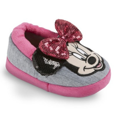 Toddler Girl's Disney Minnie Mouse Slippers - Gray/Pink LRG