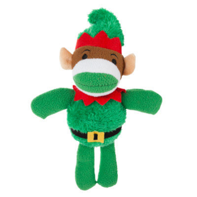 Grreat ChoiceA Pet HolidayTM Elf Sock Monkey Dog Toy