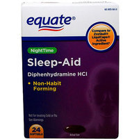 Equate Alcohol Free Night Time Sleep Aid Softgels, 24 count