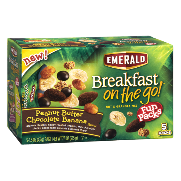 Emerald Breakfast On The Go Peanut Butter Chocolate Banana Nut & Granola Mix Fun Packs - 5 CT