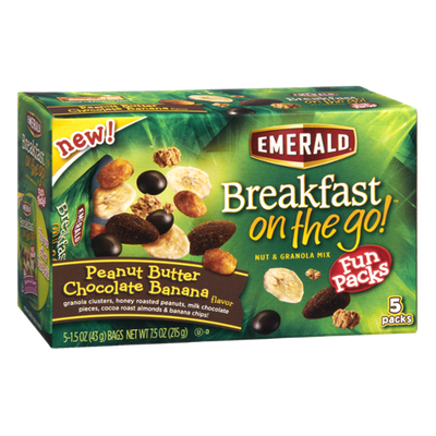 Emerald Breakfast On The Go Peanut Butter Chocolate Banana Nut & Granola Mix Fun Packs - 5 CT
