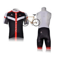2012 Style NALINI cycling jersey Set short-sleeved jersey /Perspiration breathable [Black red, Small]