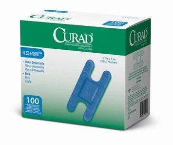 Medline Curad Flex-Fabric Blue Food Service Adhesive Bandage, 1 1/2&quot x 3&quot, Knuckle, 1200/Pack