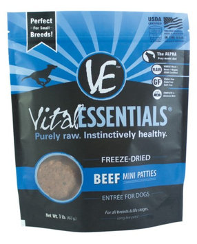 Vital Essentials Canne Freeze Dried Mini Pet Beef Patties Entree