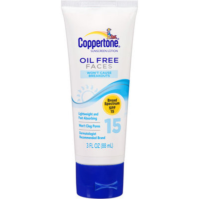 Coppertone Oil Free Faces Sunscreen Lotion, SPF 15+, 3 fl oz