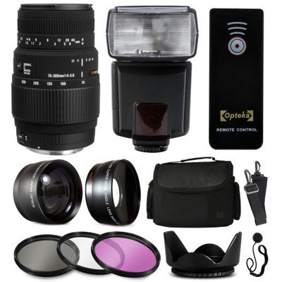47th Street Photo Sigma 70-300mm DG Lens with Amateur Accessories Bundle includes 2.2x Telephoto + 0.43x Fisheye + Flash + Remote + Case + Filters + Hood for Nikon DF D7200 D7100 D7000 D5500 D5300 D5200 D5100 D5000 D3300 D3200 D3100 D3000 D300S D90 D60