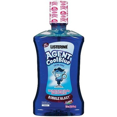 Listerine Agent Cool Blue Tinting Rinse, Alcohol Free, Bubble Blast, 16.9 Ounce
