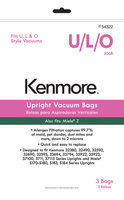 Kenmore Upright Vacuum Bag for U, L, O; Miele Z 3 pk - THE EUREKA COMPANY