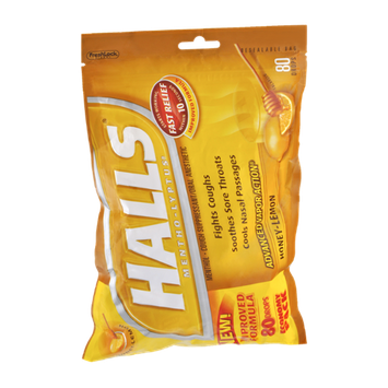 Halls Mentho-Lyptus Honey Lemon Throat Cough Drops