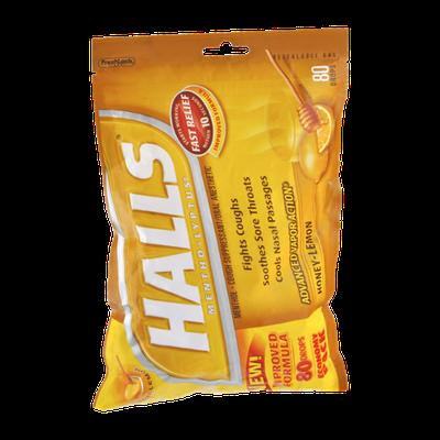 Halls Mentho-Lyptus Honey Lemon Throat Cough Drops