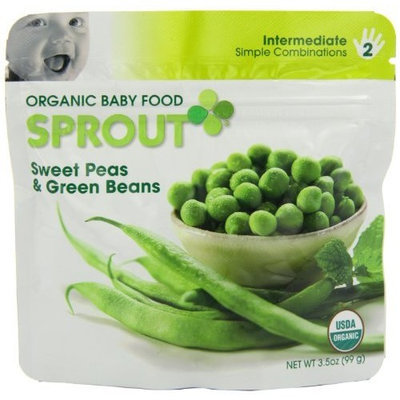Sprout Organic Baby Food, Sweet Peas & Garden Green Beans, Stage 2, 3.5-Ounce Pouches (Pack of 12)