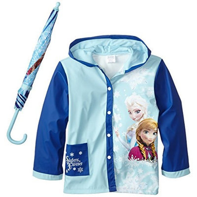 Disney Fantasia Little Girls' Frozen Sisters Umbrella Raincoat Set [Blue, Small/Medium]