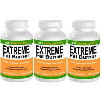 3 BOTTLES Extreme Fat Burner 540 total Capsules Weight Loss Diet Pills KRK SUPPLEMENTS