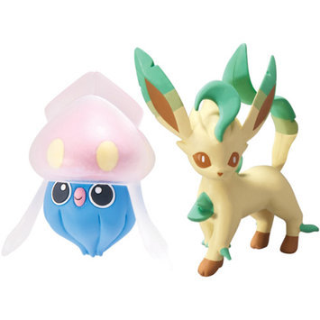 TOMY Pokemon 2-Pack Small Figures, Inkay vs. Leafeon