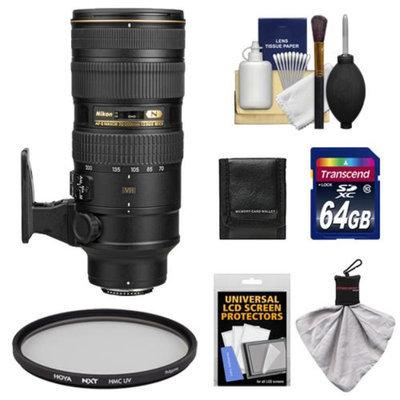 Nikon 70-200mm f/2.8G VR II AF-S ED-IF Zoom-Nikkor Lens with 64GB Card + Hoya UV Filter + Kit for D3200, D3300, D5200, D5300, D7000, D7100, D610, D800, D810, D4s DSLR Cameras