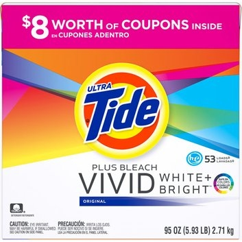 Tide Ultra  Plus Bleach Vivid White + Bright Original HE Powder Laundry Detergent