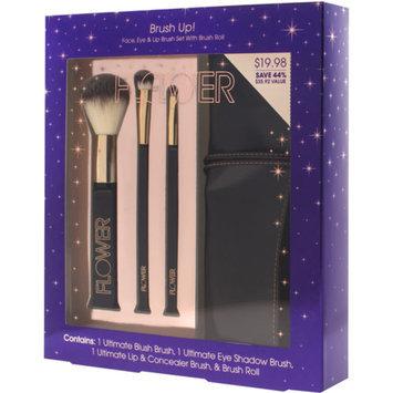 FLOWER Beauty FLOWER Beauty Brush Up! Face, Eye & Lip Brush Set with Brush Roll, 4 pc (Purple)