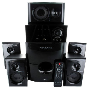 Theater Solutions TS514 5.1 Speaker System - 600 W RMS - High Gloss Black - 40 Hz - 20 kHz - Surround Sound, Dolby Pro Logic - USB