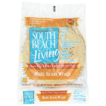 South Beach Diet South Beach Living Multi Grain Wrap, 10-Count, 8-Inch Wrap (Pack of 6)