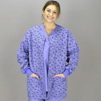 Medline Scrubs Scrub Jacket Ladies' Front Snap with Knit Cuff