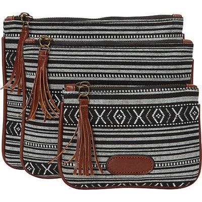 Nu-g nu G Aztec Print 3 Pack Pouch Black - nu G Ladies Cosmetic Bags