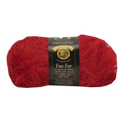 Lion Brand Fun Fur Yarn Red