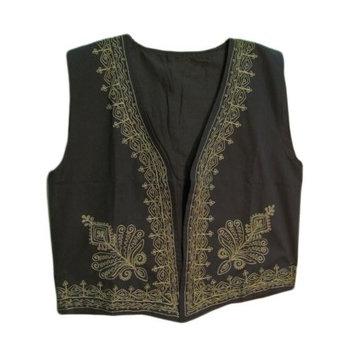 Yoga Trendz Indian Mens Black & Gold Embroidered Outerwear Vest