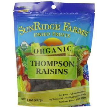 Sunridge Farms Organic Raisins-Thompson, 8-Ounce Bags (Pack of 12)